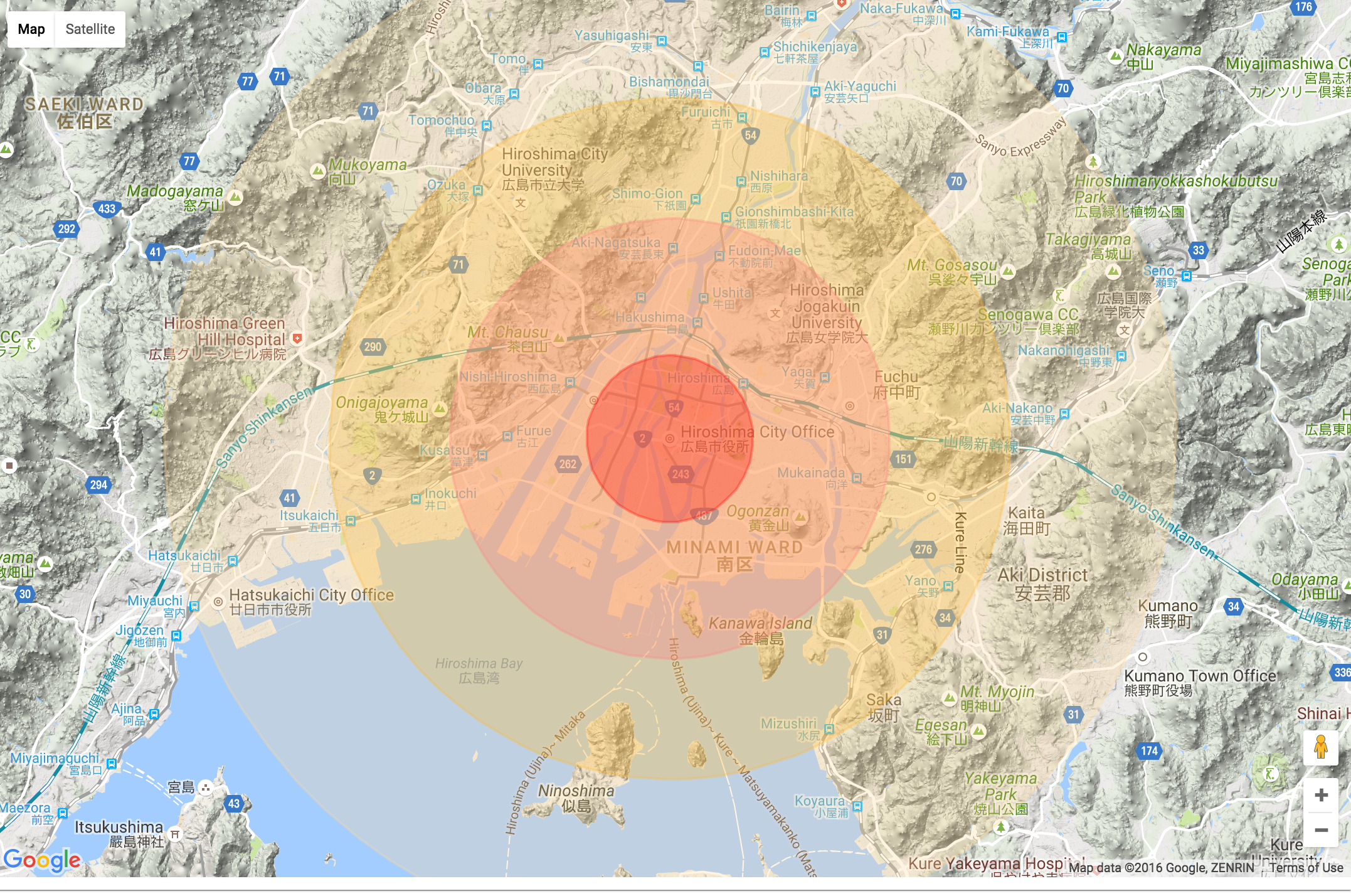 Here Is Hiroshima Being Hit By A Modern 500kt Weapon